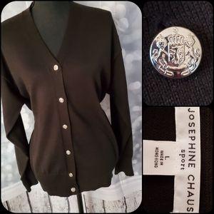 Josephine Chaus Black Silver Button  Cardigan